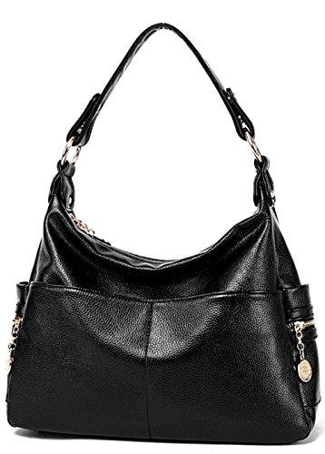 Rovanci Damen Vintage Handtasche Leder fertige Lederhaut Umhängetasche Schultertasche Shopper Taschen große Kapazität Shopper Tasche Blue Black