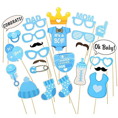 et mit Photoprops zur Baby-Boy-Feier Foto Requisiten Set blau und gelb Verschiedene Baby Design Cut Outs ()