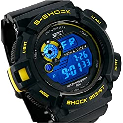tarshow Herren Militär Sport LED Digital Wasserdicht Quarz Armbanduhr (gelb)