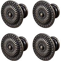 BESTOMZ 4pcs perilla de la manija del tirón del armario del cajón del vintage con los tornillos (bronce)