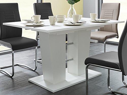 möbelando Esszimmertisch Esstisch Auszugstisch Ausziehtisch Tisch Esszimmer Bomuli I (Weiß) -