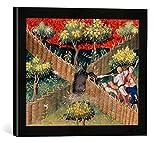 Gerahmtes Bild von Pariser Werkstatt Buchmalerei 'Wildschweinjagd m. Falle/Livre de Chasse', Kunstdruck im hochwertigen handgefertigten Bilder-Rahmen, 40x30 cm, Schwarz matt