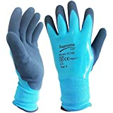 5 Pairs Blue Aqua Waterproof Fully Latex Coated Nylon Safety Work Gloves (XL)