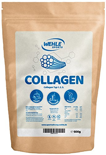Collagen-Pulver 500g - Kollagen-Hydrolysat - Eiweiß-Pulver Geschmacksneutral - Wehle Sports - Made in Germany Kollagen Typ 1 2 3 Lift Drink