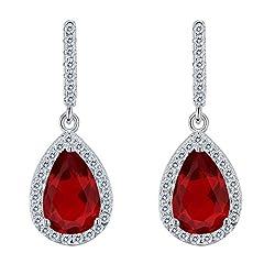 Idea Regalo - Clearine Orecchini Argento 925 Zirconia cubica Linea a Goccia Orecchini pendenti Colore rubino