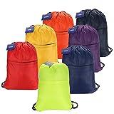 CAMTOA Borsa Sport Drawstring Tote Cinch Sacca zaino Sacco pacchetto di nylon Packsack Per Palestra Men & Women blu navy