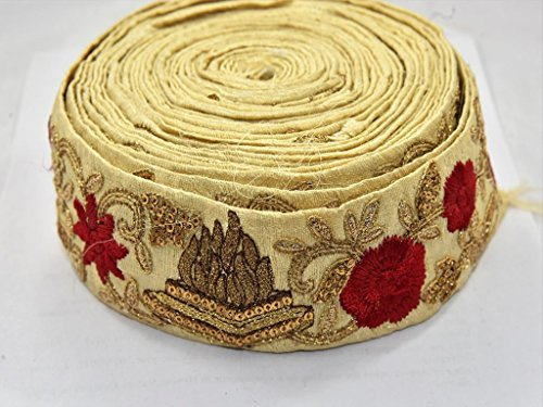 The Design Cart Light Gold and Red Design Border (5 Meters) for Dress