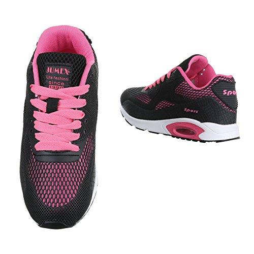 Ital-Design Sneakers Low Damenschuhe Sneakers Low Sneakers Schnürsenkel Freizeitschuhe Schwarz Pink A33038