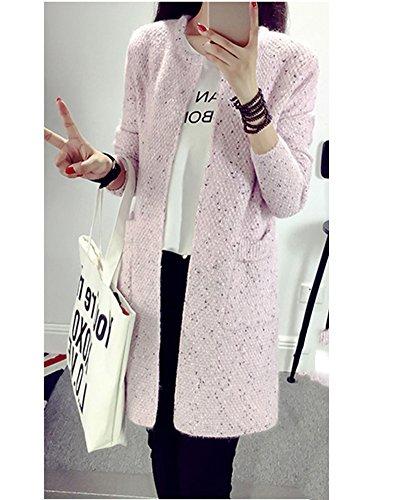 Donna Era sottile Cardigan Nella sezione lunga Giacca a cardigan lavorato a maglia Pink