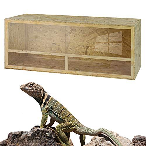 DeTec Holz Terrarium | 150 x 60 x 60 cm | aus Holz OSB | Holzkäfig | Holzterrarium für Reptilien Schlangen Schildkröten | Belüftung | Schiebetüren aus Plexiglas