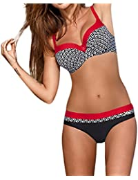 Fossen Mujer Bikini con Relleno Traje de baño Push up Bañador de Cuello hálter