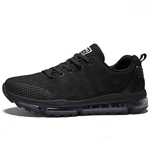 Unisex Sportschuhe Laufschuhe Sneakers Turnschuhe Fitness Mesh Air Leichte Schuhe Rot Schwarz Weiß(A61-BK41)