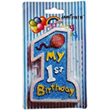 """Jain Info™ Beautiful Customized Candle For New Born 1st Birthday , Blue Theme Birthday Candle, Fancy Colour And Glitter 1st Birthday Candle, Theme Party Candle For Kids - - Match With All Cakes. Generic (""""Wholesale Bulk Deal"""")"""