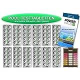 POWERHAUS24–120pastillas de prueba para piscina, 60de PH Fenol rojo y 60de DPD1cloro–Incluye cámara de medición