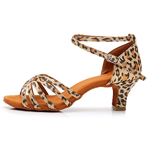 SWDZM Damen Ausgestelltes Tanzschuhe/Standard Latin Dance Schuhe Satin Ballsaal ModellD213-5 Leopard EU38.5