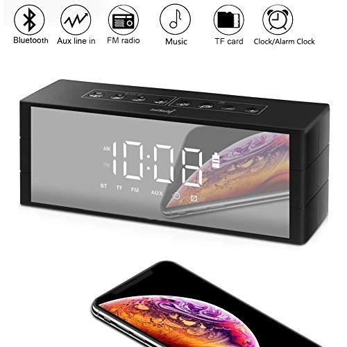 ZealSound Radio Bluetooth, Multifunktions Bluetooth-Lautspreche Wecker mit Radio, Uhr, Bluetooth Lautsprecher mit LED Bildschirm, Bluetooth Wecker mit UKW-Radio/TF-Karten-Slot für iPhone/Android (Kühler Mit Lautsprecher)