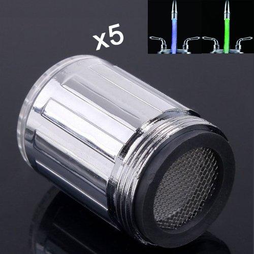 TOOGOO(R) 5 Pz di rubinetto 7 colori RGB automatico cambia LED del flusso dell'acqua