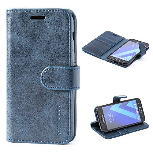 Mulbess Handyhülle für Samsung Galaxy A3 2017 Hülle, Leder Flip Case Schutzhülle für Samsung Galaxy A3 2017 Tasche, Dunkel Blau