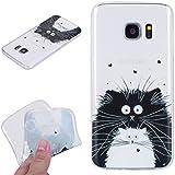 Beiuns pour Samsung Galaxy S7 Edge G9350 (5,5 pouces) Coque en Silicone TPU Housse Coque - HX531 Chat noir et blanc
