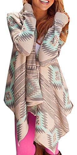Damen Strickjacke Cardigan Langarmshirt Geometrische Irregular Lose Pullover Mantel Outwear Tops Strickmantel Strick Loose Strickjacke Kimono (Tag M/EU36, Grün)