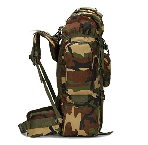 ZX&Q Upgrade Edition 65L Large Capacity Mountaineering Outdoor Camping Wandern Wasserdichte Abdeckung Komfortable Breathable Extended Camouflage Oxford Tactical Rucksack D