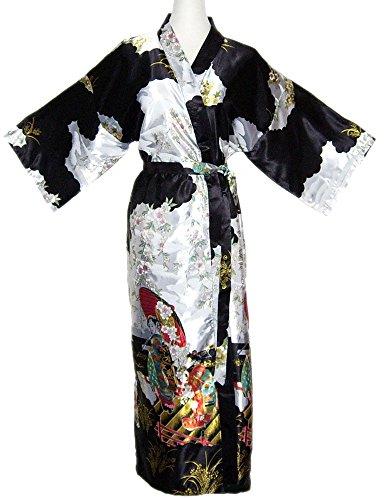 Kimono Mujer japonesa negro - bata larga elegante