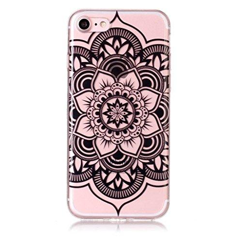 Per iPhone 8 / iPhone 7 Cover , YIGA nero fiore Cristallo Trasparente Silicone Morbido TPU Case Shell Caso Protezione Custodia per Apple iPhone 8 / iPhone 7 (4,7 pollici) S1