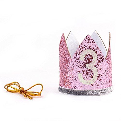 3. Geburtstag Krone Baby Girl Sparkle Tiara Prinzessin Stirnband Party Hut Hairband Haar Zubehör Foto Prop ()