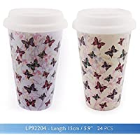Butterfly Blossom Double Walled Travel Ceramic Mug with Silicone Lid