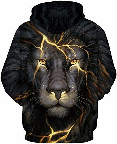 TDOLAH Herren mehrfarbig Hoodie Jacke Sweatjacke mit Kapuzen 038 Blitz Löwe