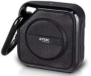 TDK A12 TREK MICRO kompakter Bluetooth Lautsprecher mit Karabiner (wetterfest, NFC, integr. Akku) schwarz