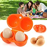 Tragbare Eier-Aufbewahrungsbox - 2 Eier Koffer Tragetablett - Grill- und Picknickzubehör - Eierbehälter für hartgekochte Eier