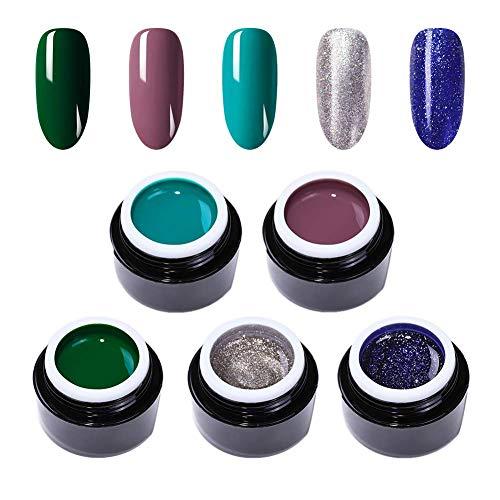 BORN PRETTY 3D 2 in 1 Malerei UV-Gel Morandi Glitter Micro-Carving Gelpolitur, 5ml -5 Flaschen- Set 3