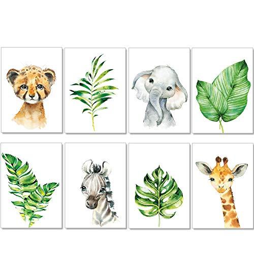 artpin® 8er Set Bilder Kinderzimmer Deko Junge Mädchen - A4 Poster Babyzimmer - Safari Dschungel Wandbilder Afrika Tiere - Porträt Elefant Tiger Giraffe Zebra (P37)