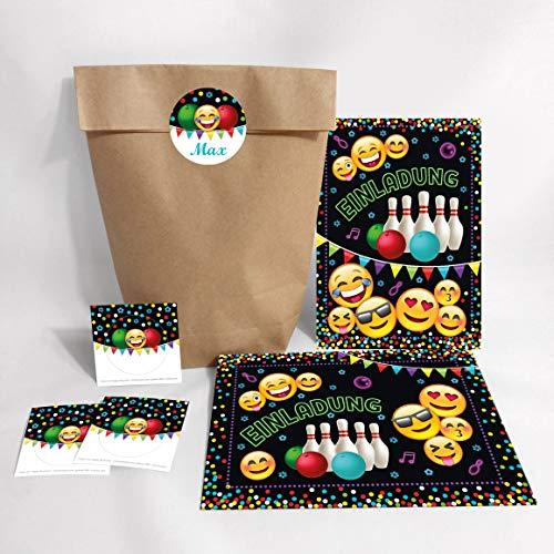JuNa-Experten 6 Einladungskarten Geburtstag Kinder Jungen Jungs Mädchen Bowling / Einladung zur Bowling-Party / Kartenset incl. 6 Umschläge, 6 Tüten / Natur, 6 Aufkleber