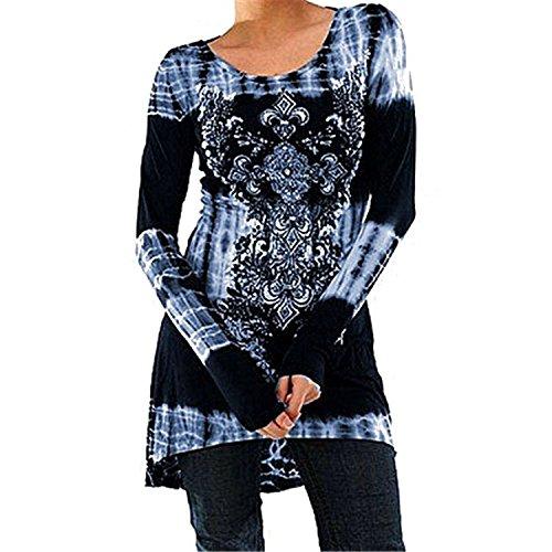 Inlefen Blusas Tallas Grandes Camisetas Góticas Vestidos Vintage Impreso Jersey Largo Cuello Redondo Blusas Manga Larga Blusas Largas Vestidos A-Línea Camisetas Trabajo