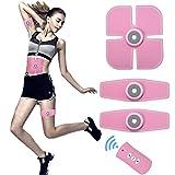 AEDU EMS Trainingsgerät Elektrische Muskelstimulation, Bauch Trainer Massagerät für Frauen Körperstraffung Muskelaufbau u. Fitness zu Hause, USB Aufladbar Pink