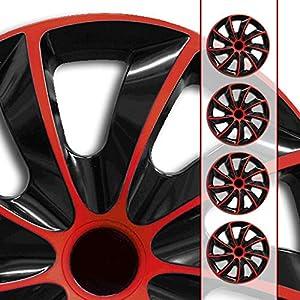 (Farbe & Größe wählbar) 16 Zoll Radkappen, Radzierblenden Quad Bicolor (Schwarz/Rot) passend für fast alle Fahrzeugtypen (universal)