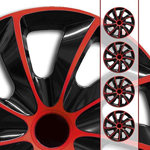 Eight Tec Handelsagentur (Farbe & Größe wählbar) 16 Zoll Radkappen, Radzierblenden Quad Bicolor (Schwarz/Rot) passend für Fast alle Fahrzeugtypen (universal)