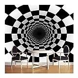 YUANLINGWEI 3D Schwarz Weiß Quadrat Tapete Wandbild Stereo Abstrakt Tunnel Space Ball Hintergrund Wand Papiere Home Decor,170cm (H) X 250cm (W)