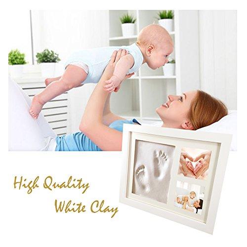 Orsetti kit impronte manina e piedino per neonati | cornice impronte neonato - 2 foto | ideale per baby shower, battesimo, decorazione parete o regalo genitori | memoria unica per bambini | bianco