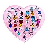 36 Stück Kristall Kinder Ringe und Ohr Ringe einstellbar Schmuck mit rosa Schmuckkästchen