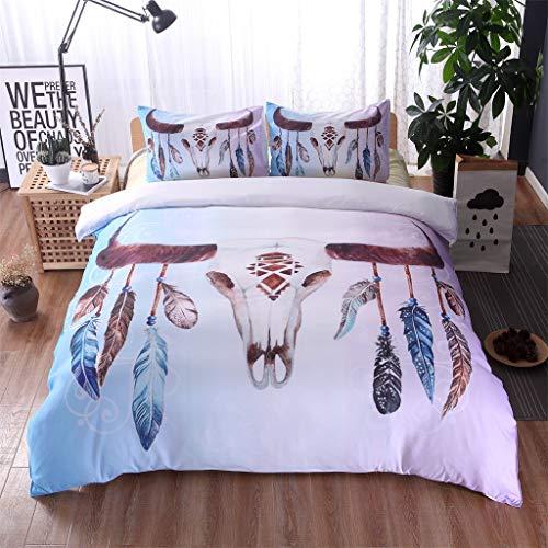 SOMESUN Stamm Totem 3 Stück Bettwäsche Drucken Zuhause Hotel Schlafzimmer Tagesdecke Kissenbezüge Gemütlich Weich Atmungsaktiv Elastisch Bettdecke Bettwäsche Set