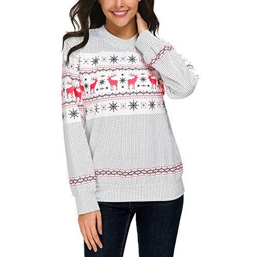 Christmas Pullover Damen UFODB Frauen Sweater Oversize Sweatshirt Merry Weihnachten Pulli Weihnachtspullover Lange ärmel Drucken Schnee Bluse Tops Hemd