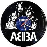 GRAVURZEILE ABBA Wanduhr aus Vinyl Schallplattenuhr Upcycling Design-Uhr Wand-Deko Vintage-Uhr Wand-Dekoration Retro-Uhr Made in Germany