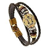 MeiPing Braccialetto in pelle con cinturino in pelle con zodiaco e costellazione zodiacale