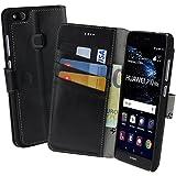 Huawei P10 Lite | Suncase Book-Style (Slim-Fit) Ledertasche Leder Tasche Handytasche Schutzhülle Case Hülle (mit Standfunktion und Kartenfach) schwarz