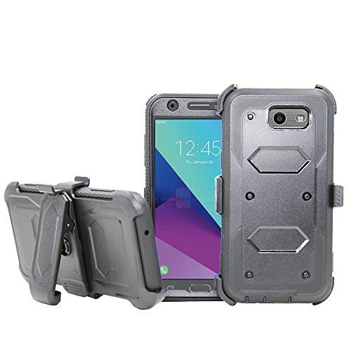 Galaxy J7V 2017Fall, Galaxy J7perx Fall, Galaxy J7Sky Pro Fall, telegaming Heavy Duty Armor Case mit Displayschutzfolie + drehbarem Gürtelclip Holster Cover für Samsung Galaxy J72017, Grau - Swivel Holster Lcd