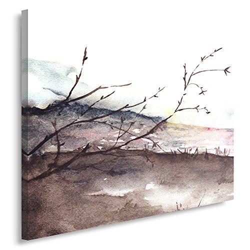 Feeby, Leinwandbild, Bilder, Wand Bild, Wandbilder, Kunstdruck 80x120cm, LANDSCHAFT, AQUARELL, WEIß, BRAUN, ROSA