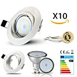 HiBay Set 10 x GU10 Einbaustrahler LED, 230V, 5W, 18PCS High Power LEDs,Schwenkbar LED Deckenstrahler, Rund Einbaurahmen, Weiß Deckenspot, 450 lumen, Naturalweiß,2 Jahre Garantie